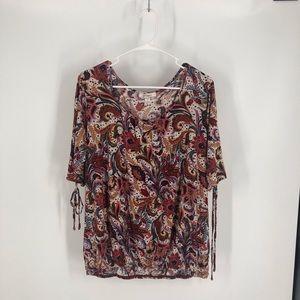 Dressbarn brown red blouse sz 2x paisley